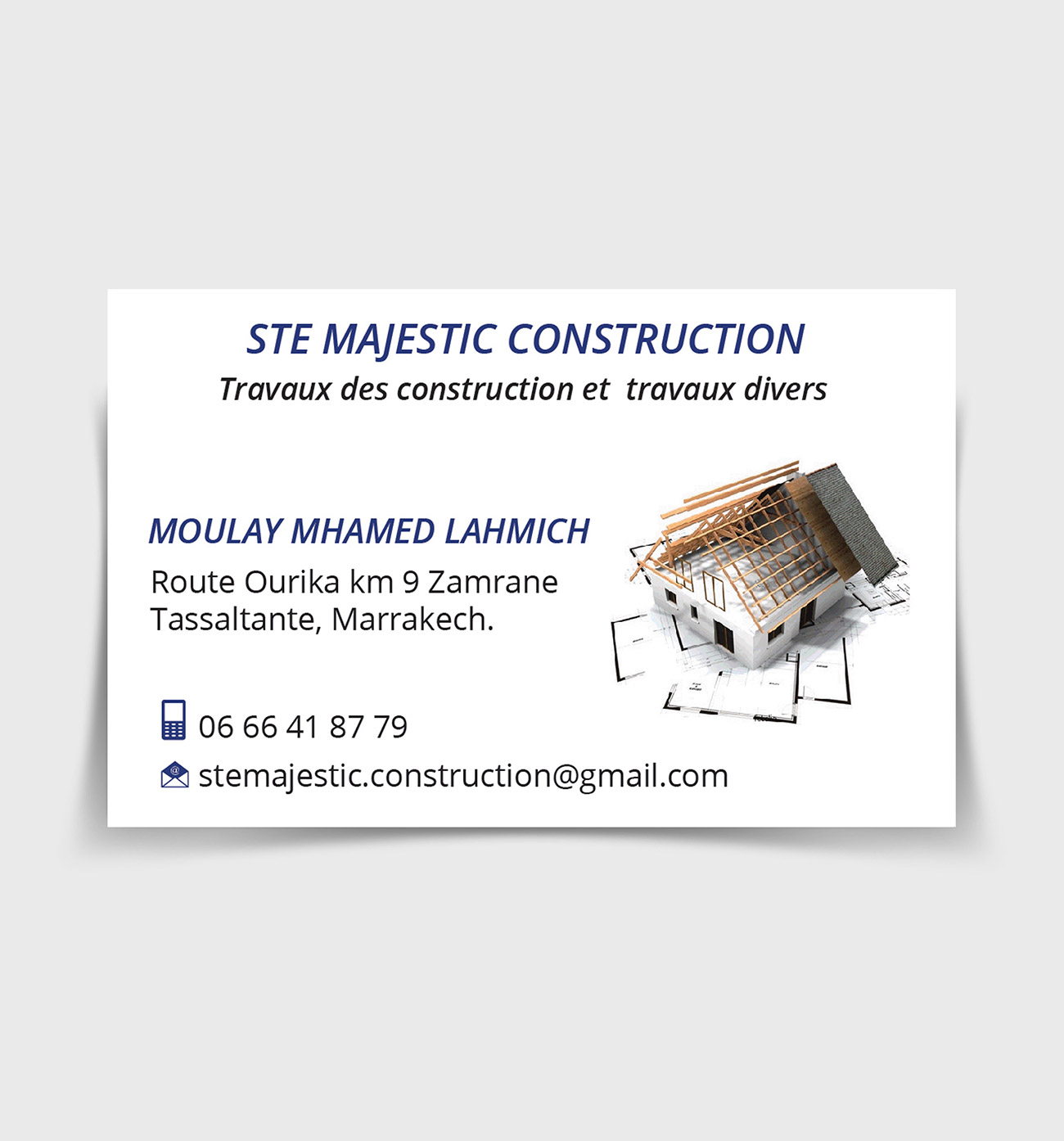 carte visite majestic construction