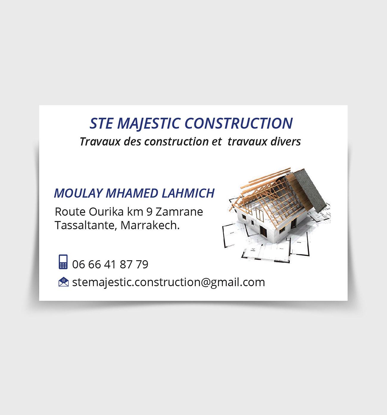 carte visite majestic construction